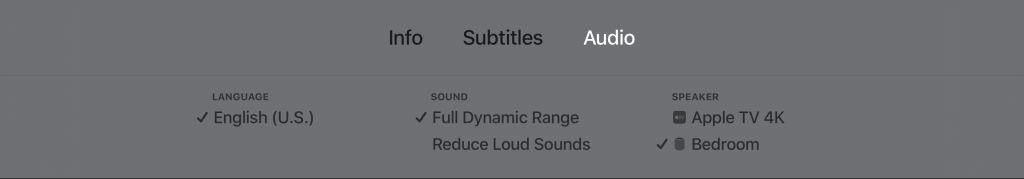 Apple TV Audio Airplay options.