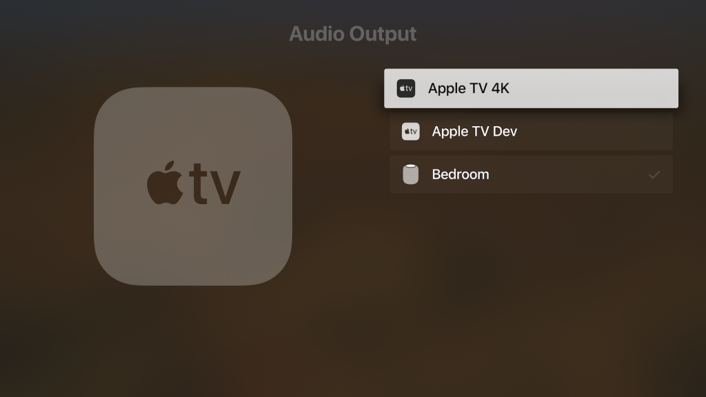Audio Output selection on an Apple TV.