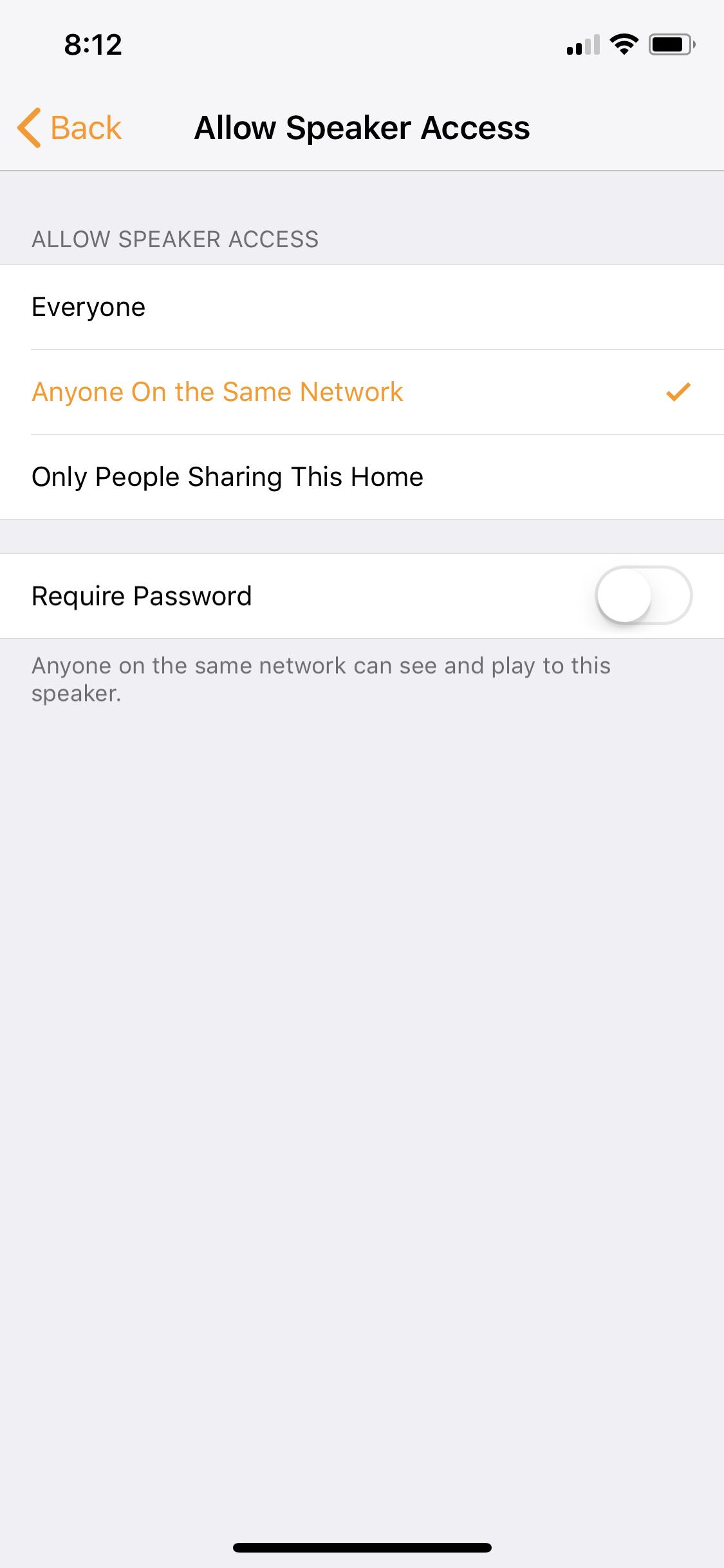 "Home Pod ""Allow Speaker"" access."