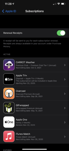 List of subscriptions after starting the free trial of Apple One. Apple Music is no longer shown.