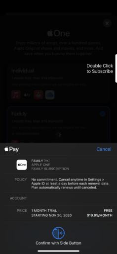 Apple Pay confirmation screen with free trial and cost.