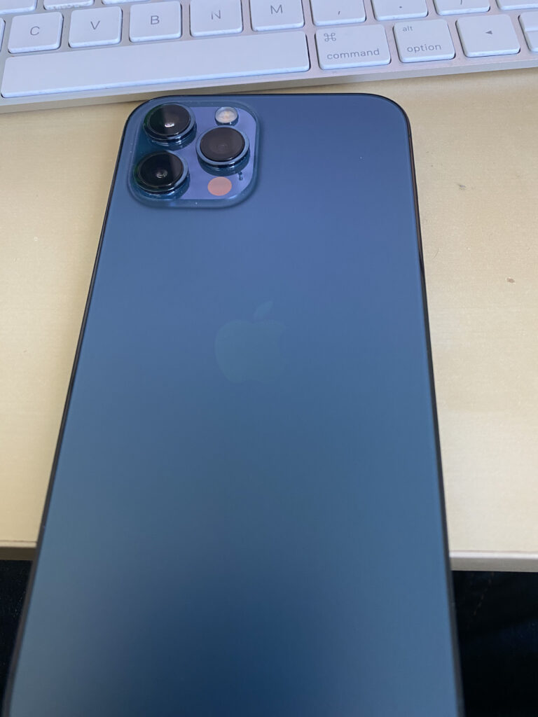 Back of a Pacific Blue iPhone 12 Pro Max