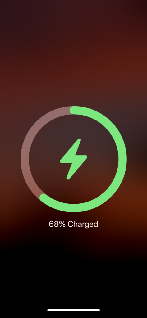 Animation after placing an iPhone 12 Pro Max on to an Apple MagSafe Charging Pad.