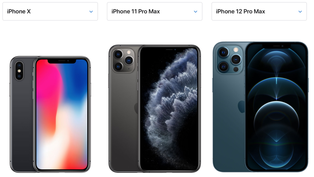 Comparison of iPhone Models, iPhone X, iPhone 11 Pro Max, and iPhone 12 Pro Max