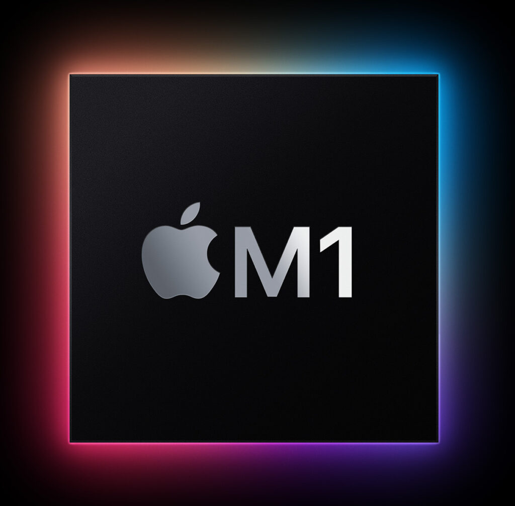 A processor with an Apple M1 logo on it.