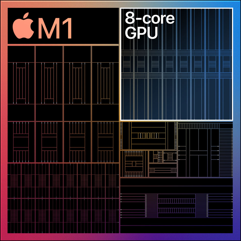 Line drawing image of Apple's M1 with the Graphical Processing Unit outlined.