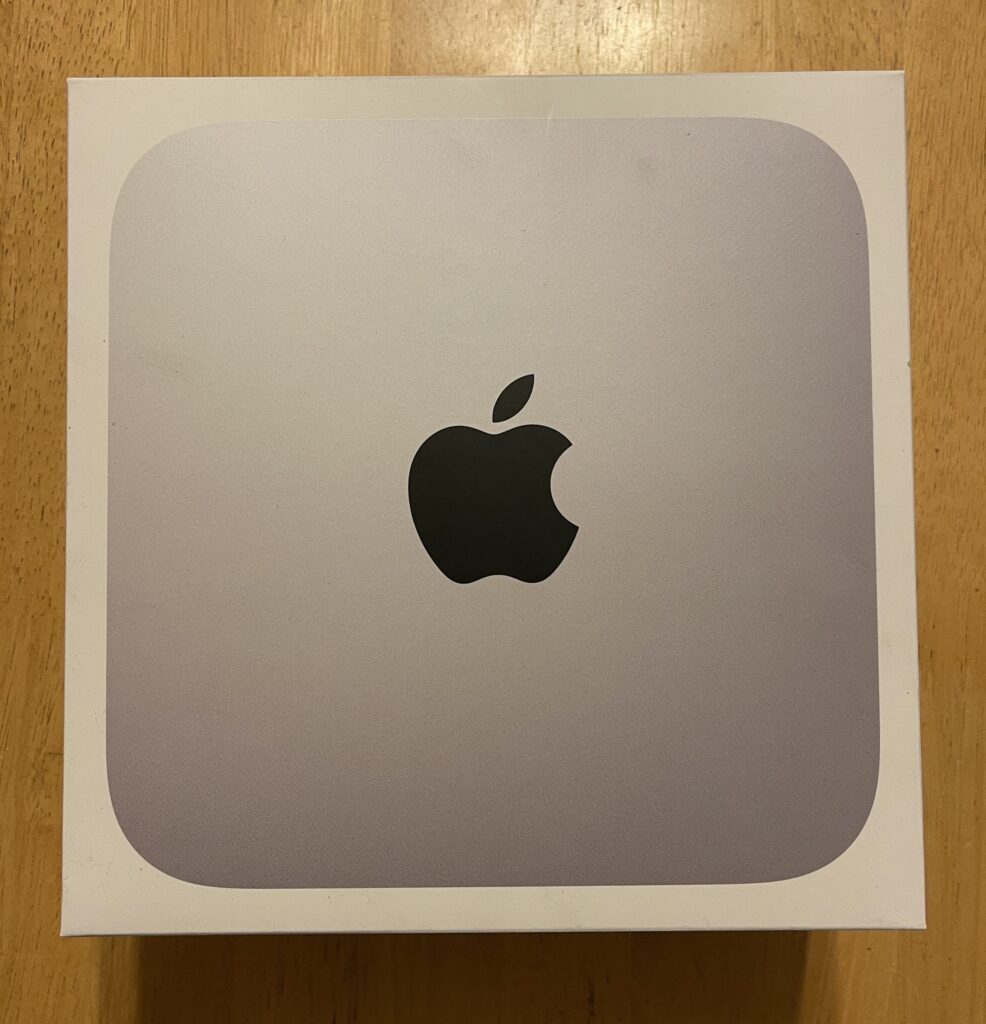 Top view of an M1 Mac mini box