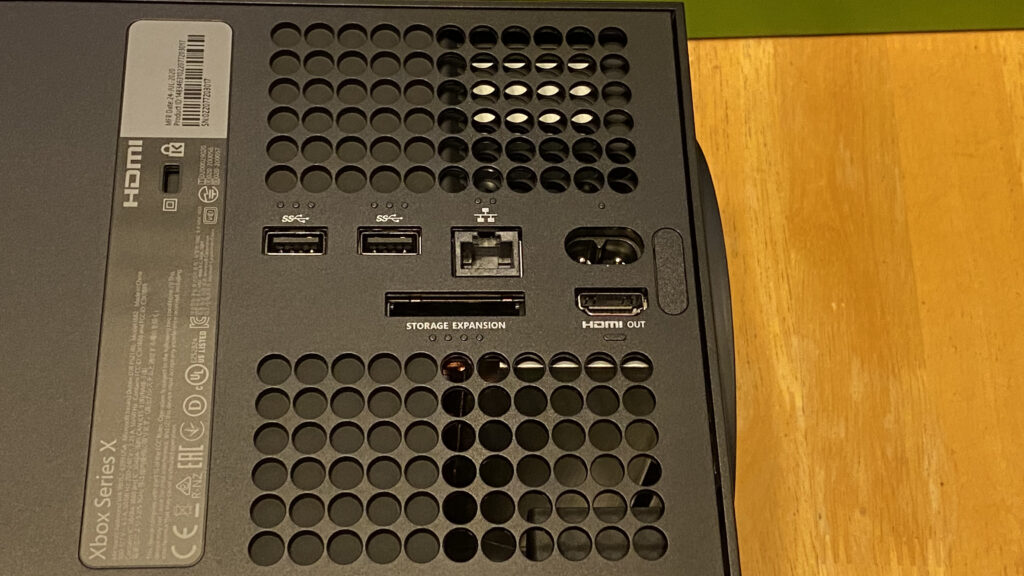 Ports on the back of the Xbox Series X