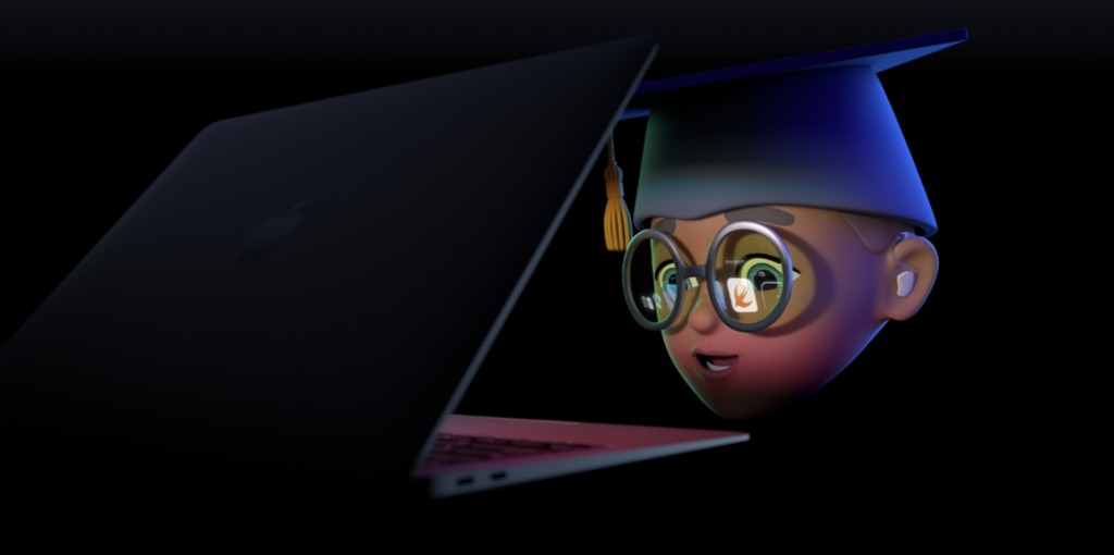 Animoji in 3D of a student with a Graduation Cap, wearing gray glasses, with the Swift and Xcode icons reflected from an M1 MacBook Air.