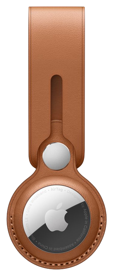 AirTag Leather Loop in Saddle Brown color