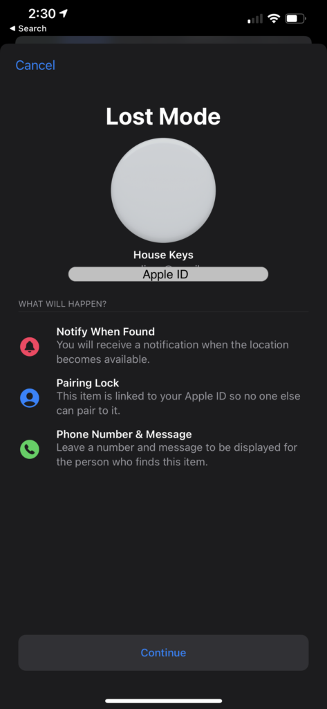AirTag Enable Lost Mode - Step 1