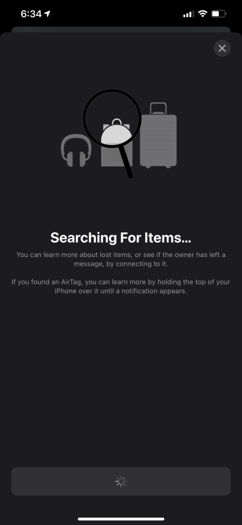 Searching for Lost Item Screen - Searching for Item
