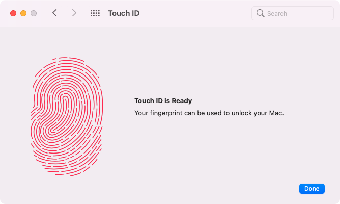 Touch ID on the Mac -- Enrollment Finished