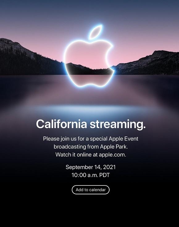 Apple's 'California Streaming' event invitation for September 14th, 2021