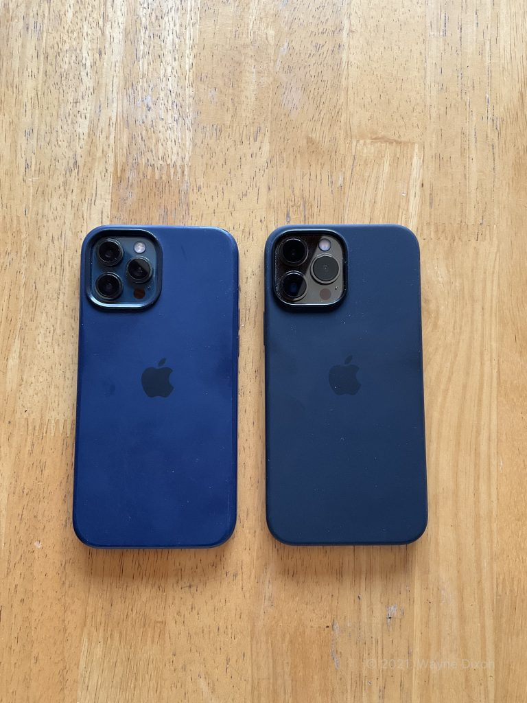 iPhone 12 Pro Max with Deep Navy case compared to an iPhone 13 Pro Max with a Midnight Case