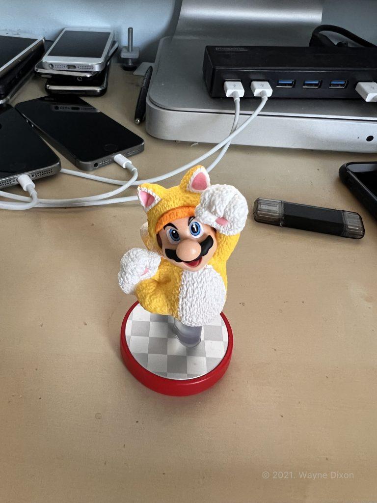"Photo of Mario Figurine using ""Cool"" Photographic Style"