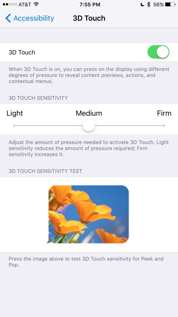3D Touch Settings