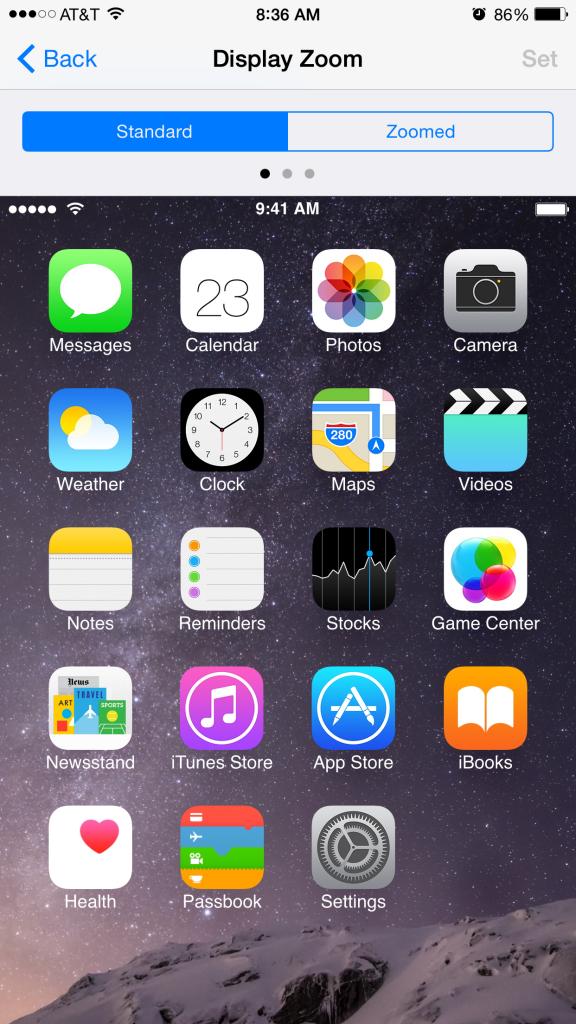 iOS 8 Standard Zoom