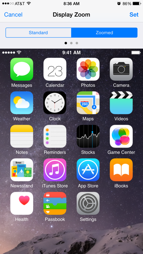 iOS 8 Zoomed View